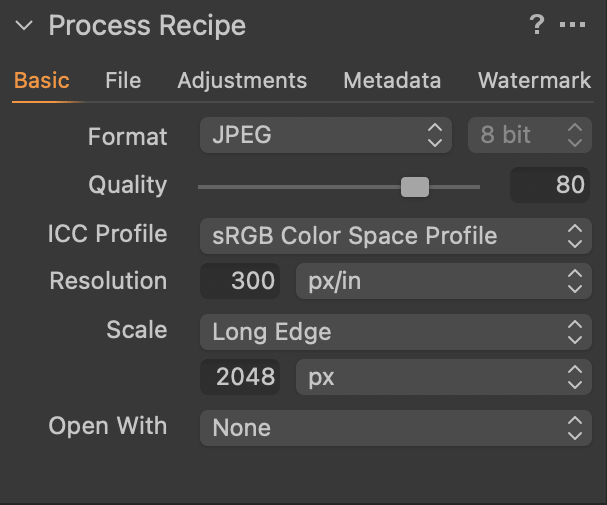 Capture One Process Recipe Basic Tab