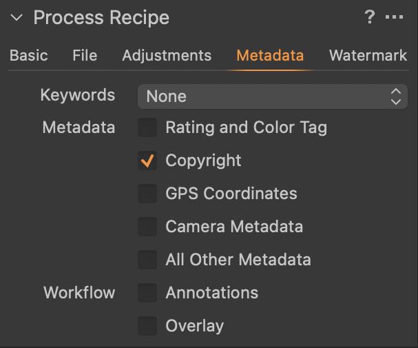 Capture One Process Recipe Metadata Tab