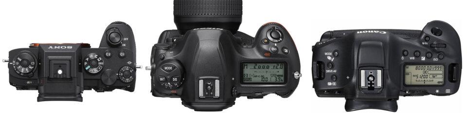 Sony A1 vs Nikon D6 vs Canon 1D X Mark III Top View