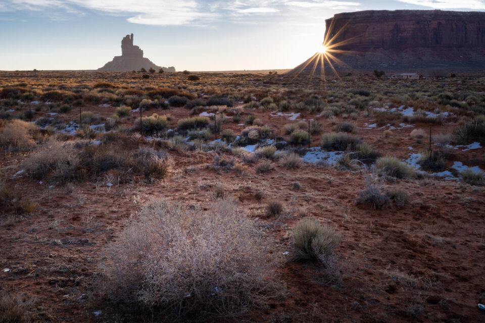 Monument Valley sun burst