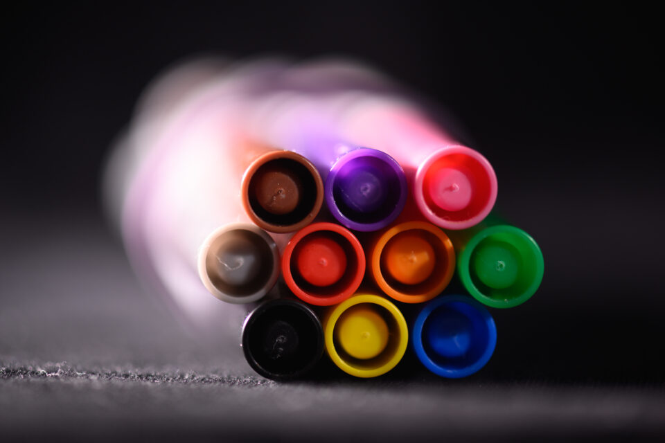 Close-up photo of colorful markers