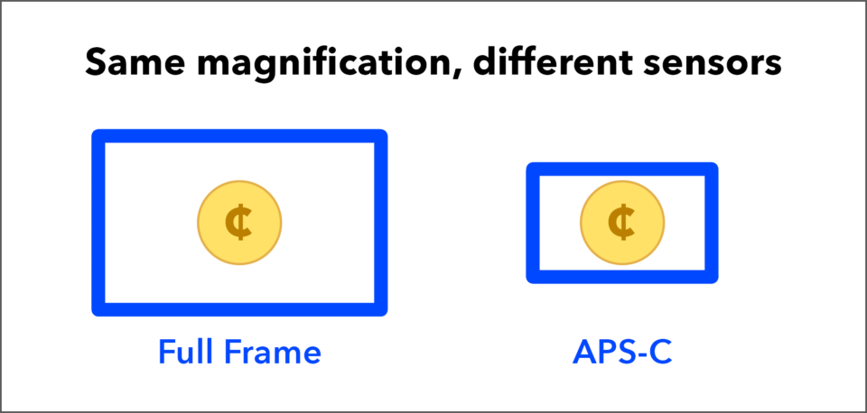 Comparison of Magnification with Full Frame vs APS-C Sensors