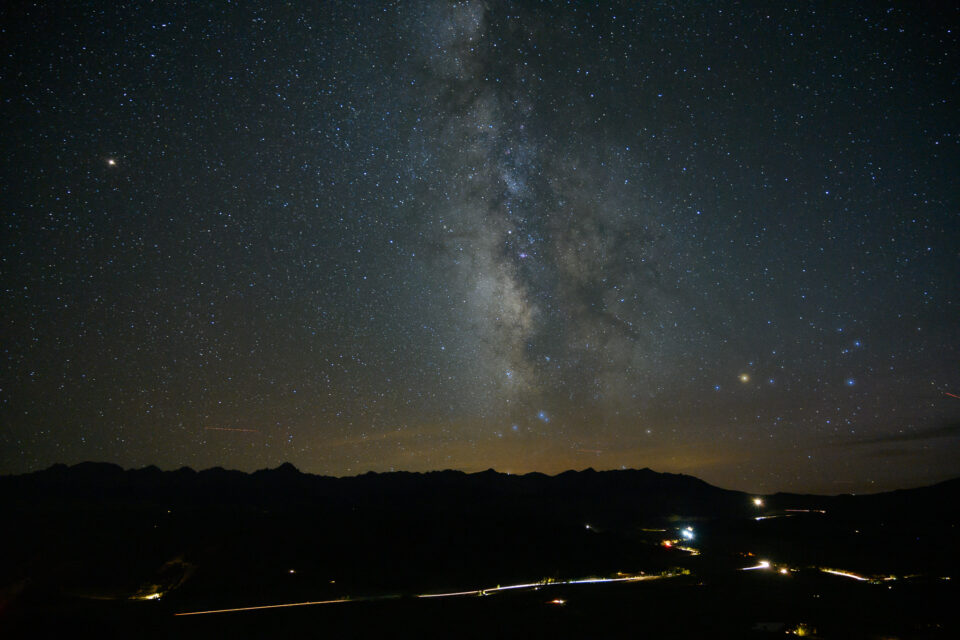 Wide angle image of the night sky with minimal trails because of the wide focal length