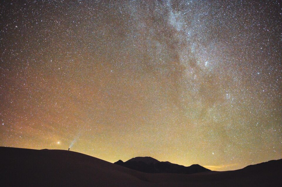 Milky Way with a tiny human in the foreground