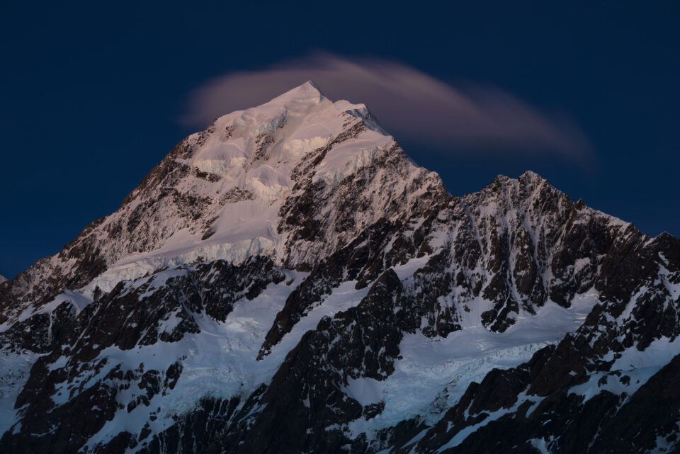 Mountain at blue hour with optimal light