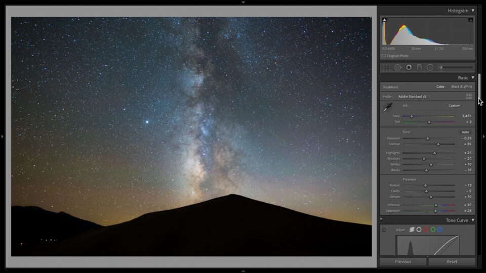 Basic Panel Edits for a Milky Way Photo in Lightroom