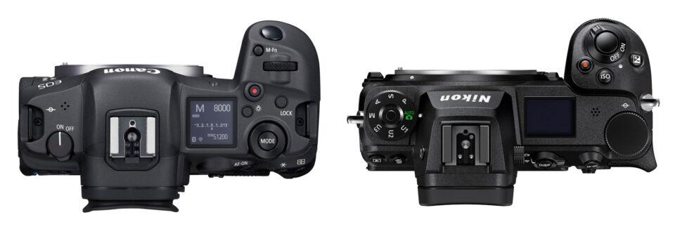 Canon EOS R5 versus Nikon Z7 II Top Panel Controls