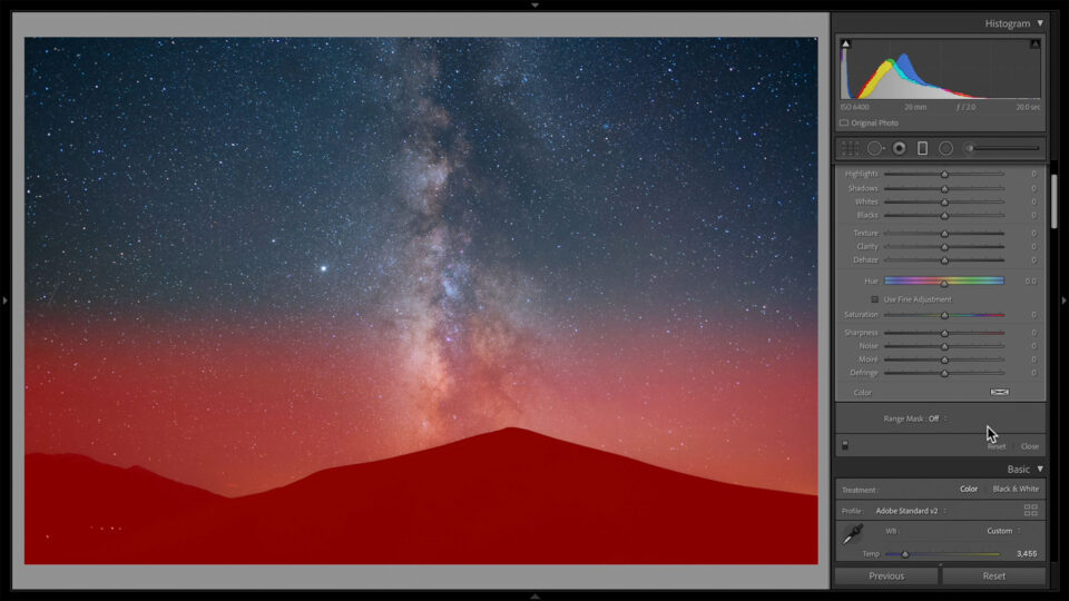 Gradient Filter on a Milky Way Photo in Lightroom