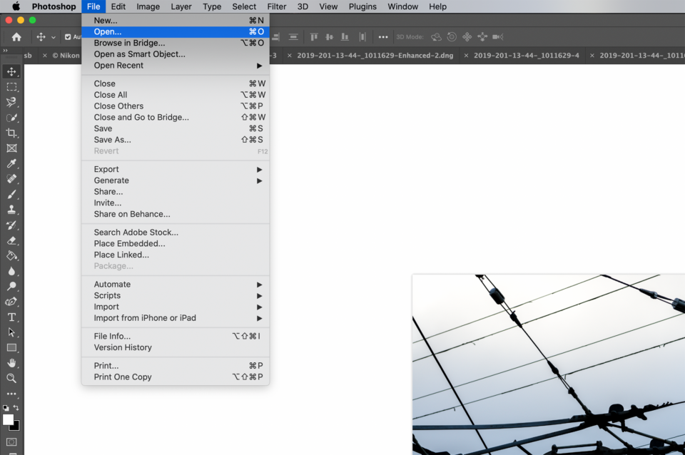 Open a new image in Photoshop and Camera Raw