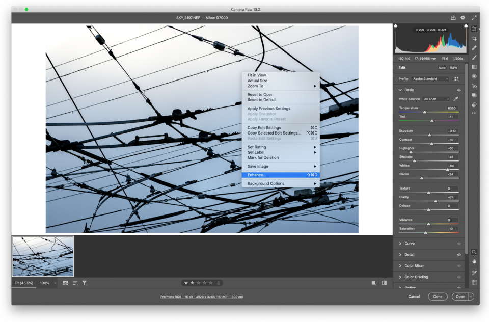 Right Click Enhance in Adobe Camera Raw