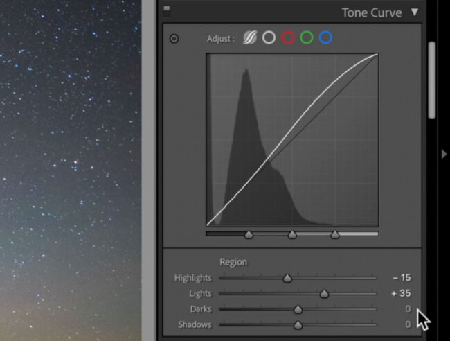 Tone Curve Panel for Astrophotography