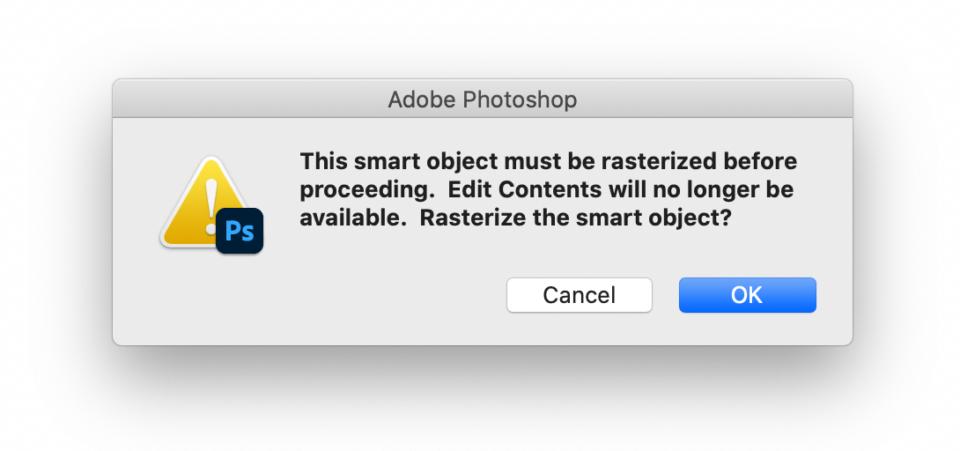 Rasterize Smart Object Photoshop
