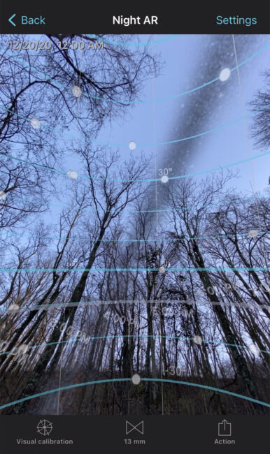 Milky Way Augmented Reality in Photopills