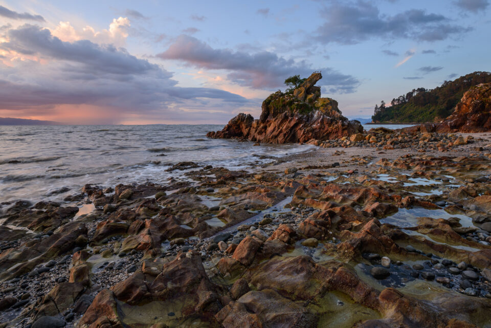 Seashore in New Zealand with Rock Stack