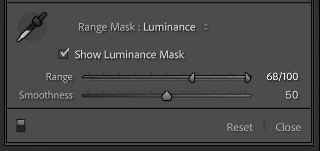 Luminance Range Mask Dialog Lightroom